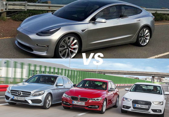 Tesla Model 3 Vs Audi A4 Bmw 3 Series Mercedes Benz C Class