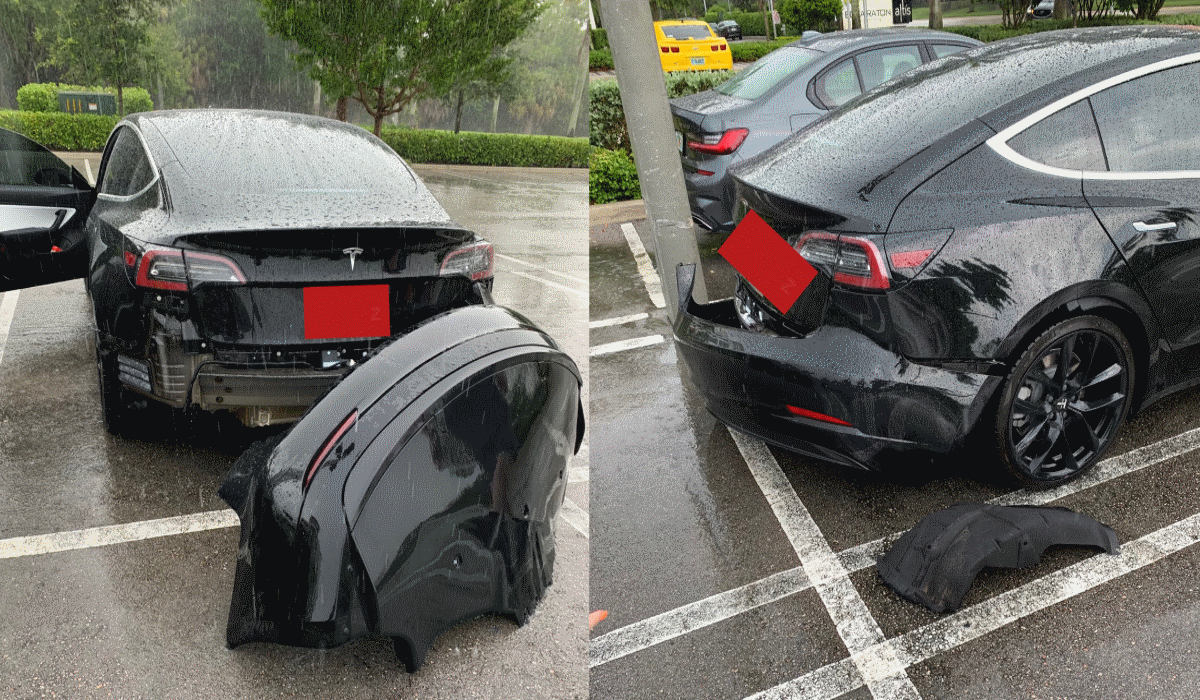 Tesla Finally Admits Design Flaw In Model 3 Caused Rear Bumper Flying Off After Driving Through A Puddle