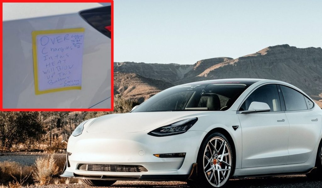 Resident Unplugs Tesla Model 3 & Puts Warning Note on the Car
